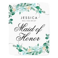 Mint & Peach Floral Will You Be My Maid of Honor Card - diy cyo customize create your own personalize