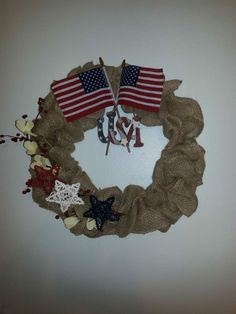Patriotic Wreaths made with burlap,grapevine stars,berries,dried flowers,wood sign- U.S.A. and the AMERICAN FLAG.Cotact me on FB or gmail-.wreaths and crafts by barbara. or bakumanchik@gmail.com.