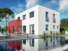 Haas S 154 D von Haas-Fertigbau  ➤ Alle Häuser unter: https://www.fertighaus.de/haeuser/suche/ Fertighaus, Einfamilienhaus, Fertigteilhaus, Eigenheim, Fertigbau