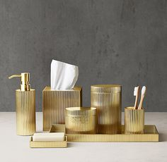 Ribbed Metal Bath Accessories   Aged Brass