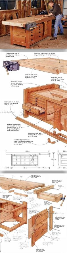 Rock-Solid Workbench Plans - Workshop Solutions Plans, Tips and Tricks - Woodwork, Woodworking, Woodworking Plans, Woodworking Projects Woodworking Bench Plans, Workbench Plans, Woodworking Workshop, Teds Woodworking, Woodworking Projects, Diy Wood Projects, Home Projects, Bois Diy, Shed Plans