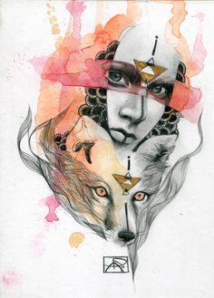 Tattoo Watercolor Fox Spirit Animal New Ideas Art And Illustration, Watercolor Fox, Tattoo Watercolor, Gcse Art Sketchbook, Fox Spirit, Fox Art, Animal Projects, Fractal Art, Design Art