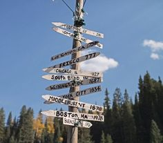 Signs pointing in every direction. Imagine trying to pick a destination from this.