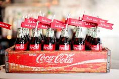 vintage-Coca Cola-Jack and coke Wedding Decor, Wedding Favors, Wedding Ideas, Wedding Seating, Wedding Details, Wedding Reception, Wedding Crafts, Wedding Menu, Wedding Card