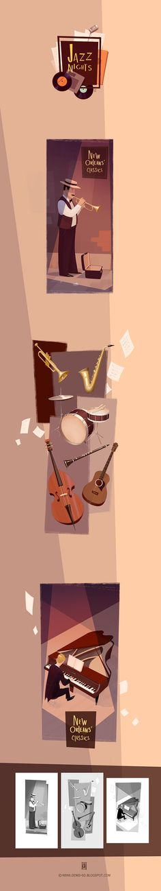 """Jazz Nights"" editorial illustrations by Denis Spichkin, via Behance"