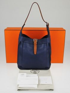 1bf52597bd1 The Hermes Bleu de Malte Clemence Leather Marwari PM Bag is a classic  that's great for