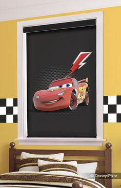 Rev up your room with these Lightning McQueen shades from Comfortex's #Disney line! #windowtreatments