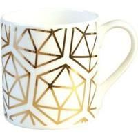 Hand decorated in England with 9 carat gold, this Icosahedron fine bone china mug by Alfred & Wilde is based on the Platonic Solids. Featuring a symmetrical geometric pattern throughout, this mug makes a contemporary addition to a dining collection.
