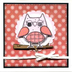 Handmade Card. Using Woodware owl stamp.
