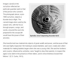 Thunderbird whorl.  The power of the wool worker. spindle whorl. salish.