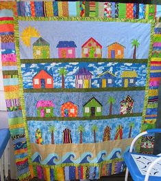 "Beach Theme Quilts | Beach Cottages (not quilted or bound, not eligible to win) (57"" x 67"") xxx"