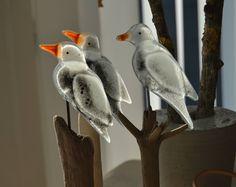 Cheeky seagulls. Floatglass and driftwood.