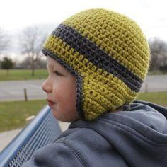 Ravelry: Versatile Earflap Hat Pattern pattern by Micah York Crochet Hats For Boys, Crochet Toddler, Crochet Baby Hats, Crochet Beanie, Knitted Hats, Bonnet Crochet, Crochet Cap, Free Crochet, Crochet Crafts