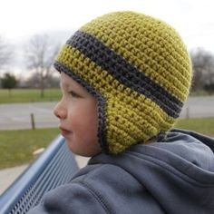 Green Earflap Hat Side free #crochet #pattern
