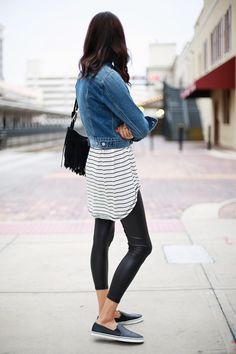 casual black and white stripes - leather legging