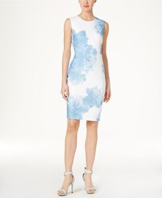 Calvin Klein Floral-Print Sheath Dress - Dresses - Women - Macy's