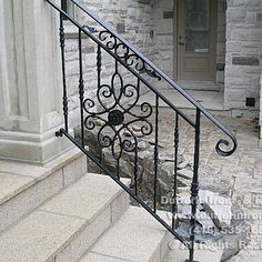 Wrought Iron Porch Railings, Porch Handrails, Exterior Stair Railing, Outdoor Stair Railing, Front Porch Railings, Iron Handrails, Modern Stair Railing, Front Porch Design, Metal Stairs