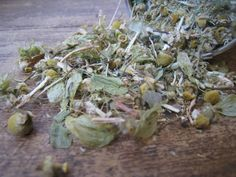 A Recipe for Herbal Bedtime Tea: An All Natural Sleep Aid: -3 parts chamomile flowers -2 parts lemon balm -1 part catnip -1 part oatstraw -1 part passionflower -1/4 part hop flowers -1/4 part valerian root