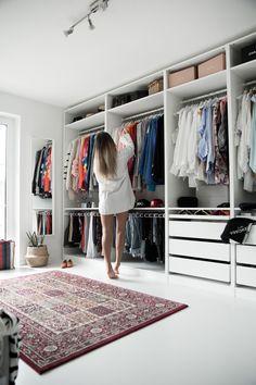 my dressing room - open Ikea Pax wardrobe. white dressing room - my dressing room – open Ikea Pax wardrobe. Walk In Closet Design, Bedroom Closet Design, Master Bedroom Closet, Closet Designs, Home Bedroom, Ikea Bedroom, Bedroom Furniture, Walk In Robe Designs, Bedroom Decor