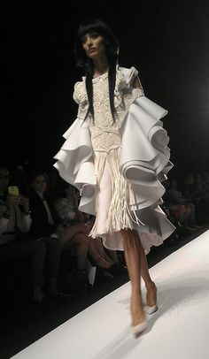 Cascading Ruffle Dress with voluminous 3D structure & layered textures; sculptural fashion // Nika Tang
