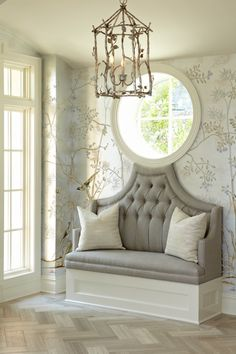 so many beautiful details-wallpaper, bench, circular window and lantern- use separately