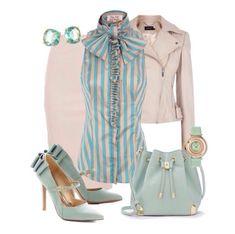 Outfit de lindos colores pasteles, para Oficina y la Primavera.