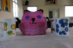 Tea Pot Cosy cat face in pinks - Folksy