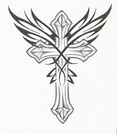 cross with wings drawing - Google Search