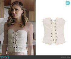 Megan's white lace-up corset on The Arrangement. Outfit Details: https://wornontv.net/99346/ #TheArrangement