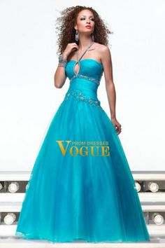 A line Halter Floor length Tulle with Applique Decorated Prom dress