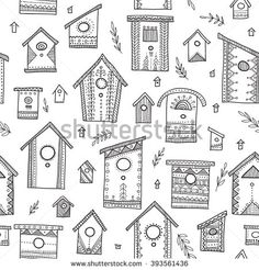Vector seamless pattern with ethnic tribal hand drawn bird houses. Can be printed and used as wrapping paper, wallpaper, textile, fabric, coloring page, etc. #yuliiabahniuk #illustration #doodle #doodling #ethnic #tribal #ornament #drawing