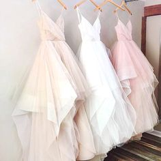 Pink/White Spaghetti Straps High Low Sleeveless Tulle Prom Dress