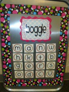 Boggle Board = Word Work Fun! classroom bulletin board