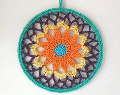 Crochet Dreamcatcher Dragon - Pattern Only Spiral Crochet Pattern, Crochet Patterns, Crochet Thread Size 10, Crochet Dreamcatcher, Dragon Pattern, Yarn Sizes, Flower Center, Knit Picks, Yarn Needle