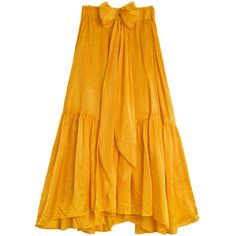 Creatures of Comfort Sulphur Carmen Skirt ($225) ❤ liked on Polyvore featuring skirts, ruched maxi skirt, mid length skirts, long orange skirt, long skirts and long maxi skirts