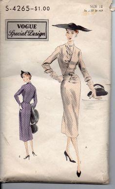 Vintage 1951 Vogue Special Design Dress Pattern Size 18 #-4265
