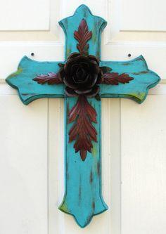 Turquoise Chevron Print Wooden Cross Door Hanger Interchangable