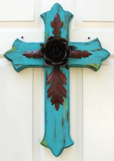 DC033A Large Turquoise Wood Cross with Rustic Rose by DiaMorDecor