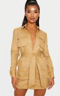 Camel Utility Tie Waist Shirt Dress The utility trend is taking over this season and we are obses. Shirt Dresses Uk, Maxi Shirt Dress, Day Dresses, Casual Dresses, Fashion Dresses, Women's Fashion, Dresses Online, Fashion Clothes, Fashion Brands