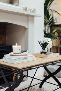 Upcycled Palette Coffee Table With Book Stack, Tray And Jo Malone Products