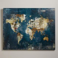 "WorldMarket.com: 'Away We Go' by Zoey Riley,50"" X 40"", $399.00-Newsprint, stamps and sheet music blend into the world map,Printed on stretched canvas with hand painted embellishment, limited edition giclee"