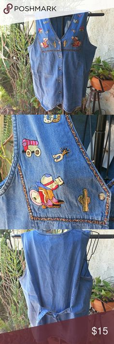 Western embroidered jean vest/top. New with tags. Cute and whimsical jean vest. Embroidered western motif. Never worn. Way to Go Tops Button Down Shirts