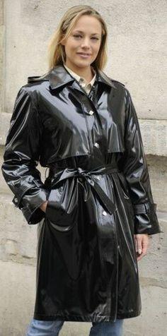 Black PVC Raincoat.