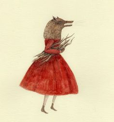 The Symbiosis of Little Red and the Wolf Julianna Swaney cool grimm and fairy modern surreal illustration