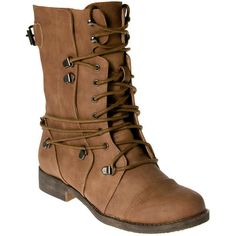 Tan Pu Wrap Over Lace Military Boots ($24) ❤ liked on Polyvore