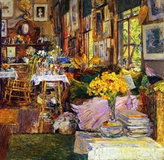 The Room of Flowers  Artist: Frederick Childe Hassam Year: 1894 Type: Oil on canvas