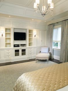 built ins to hide the tv in the bedroom plus the shelvingstorage for dvds etc nobody wants to see that stuff in their bedroom pinterest