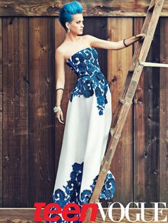 Katy Perry in Teen Vogue's May 2012 issue in an Oscar de la Renta gown