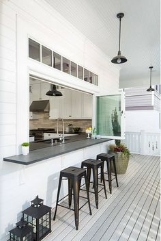 Kitchen Pass Through Window, Use a pass through window to connect your kitchen to your outdoor area, The sliding pass-through window is manufactured by Sierra Pacific Windows, Sliding pass-through window with Transom  #KitchenPassThroughWindow #PassThroughWindow