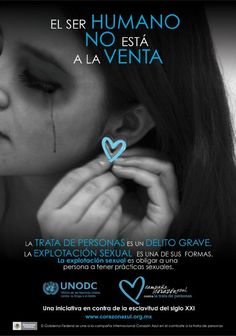From the Spanish-language Campaña Corazón Azul contra la Trata de Personas, this is part of a poster series in Mexico highlighting human trafficking and the Blue Heart.